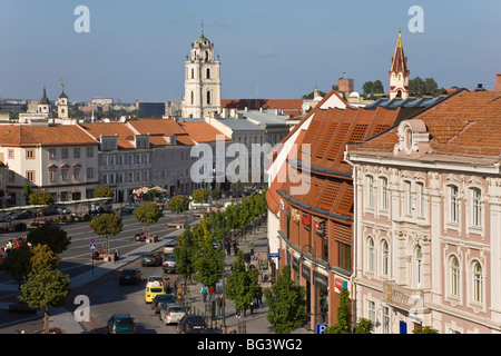 Elevated view over the Old Town Square, Vilnius, Lithuania, Baltic States, Europe - Stock Photo