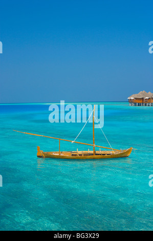 Taditional dhoni and water villas, Maldives, Indian Ocean, Asia - Stock Photo