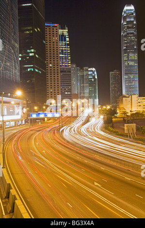 Freeway Running Along Harbor of Hong Kong Stock Photo