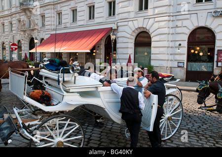 Fiaker und Kutscher am Michaelerplatz, Wien, Österreich | Fiaker (horse carriage) and horsemen, Vienna, Austria - Stock Photo