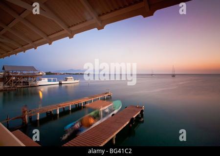 Honduras, Bay Islands, Utila, Cafe Mariposa, Jetty - Stock Photo