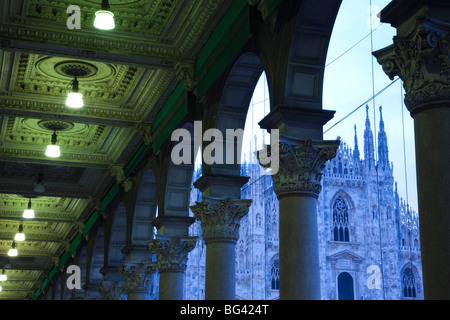Italy, Lombardy, Milan, Piazza del Duomo, Duomo, cathedral, dawn - Stock Photo