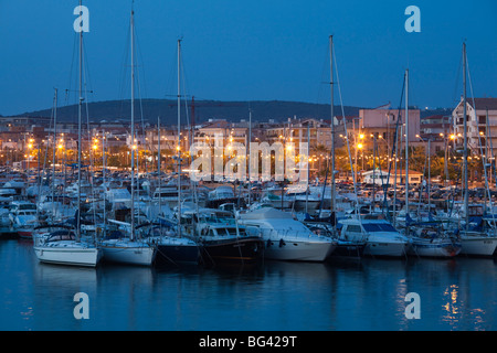Italy, Sardinia, Western Sardinia, Alghero, yacht marina, evening - Stock Photo