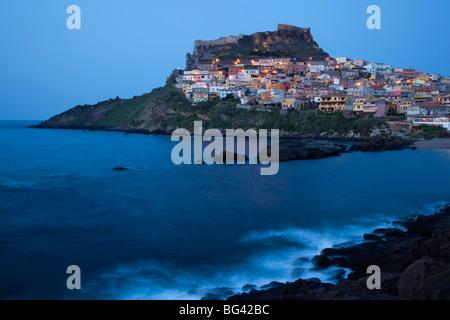 Italy, Sardinia, North Western Sardinia, Castelsardo, dusk - Stock Photo