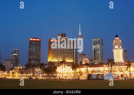 KL Tower, Sultan Abdul Samad Building and city skyline from Merdeka Square, Kuala Lumpur, Malaysia, Southeast Asia, - Stock Photo
