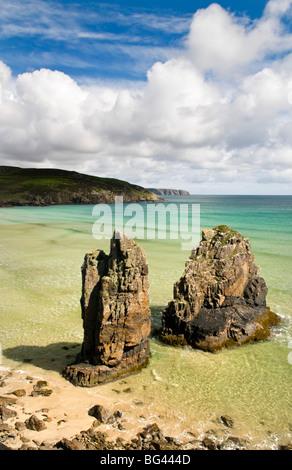 Sea stacks on Garry beach, Isle of Lewis, Hebrides, Scotland, UK - Stock Photo