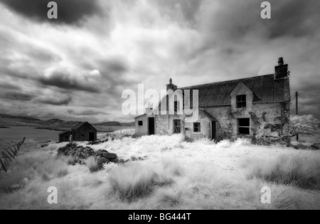 Infrared image of a derelict farmhouse near Arivruach, Isle of Lewis, Hebrides, Scotland, UK - Stock Photo