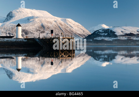 Corpach Lighthouse on Loch Eil with Ben Nevis and Fort William in the background, Highland Region, Scotland, UK - Stock Photo