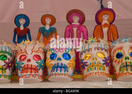 Sugar skull decorations for the Day of the Dead festival, San Miguel de Allende, Guanajuato, Mexico, North America - Stock Photo