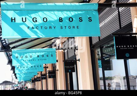 Hugo Boss factory store in Les Hangars, Bordeaux, France - Stock Photo
