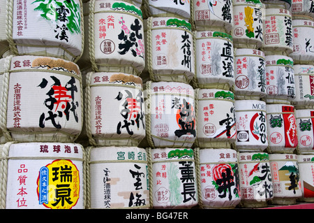 Traditional sake barrels at Meiji Jingu Shrine, Tokyo, Japan, Asia - Stock Photo