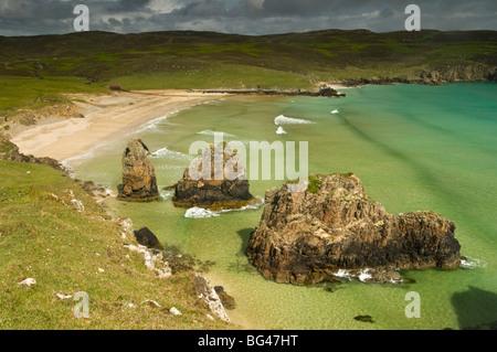 Sea stacks on Garry Beach, Tolsta, Isle of Lewis, Outer Hebrides, Scotland, United Kingdom, Europe - Stock Photo