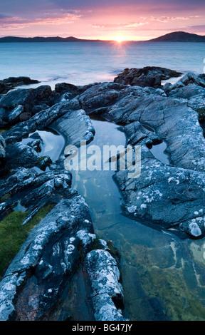 Sunet from Seilebost beach, Isle of Harris, Outer Hebrides, Scotland, United Kingdom, Europe - Stock Photo
