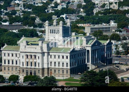 Uruguay, Montevideo, Palacio Legislativo, government building from Torre Antel tower - Stock Photo