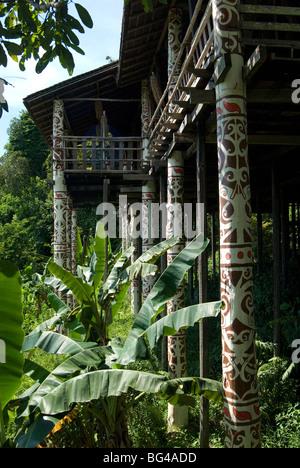 Orang Ulu tribal longhouse, Sarawak Cultural Village, Santubong, Sarawak, Malaysian Borneo, Malaysia, Southeast - Stock Photo