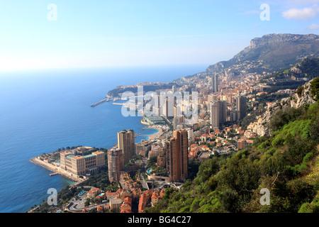 Elevated view over the city, Monte Carlo, Monaco, Cote d'Azur, Mediterranean, Europe - Stock Photo