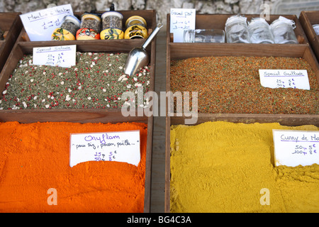 Spices on a stall in a street market on the French Riviera, Provence, France, Europe - Stock Photo