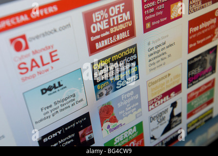 The Cybermonday.com website features their Cyber Monday sales from multiple retailers - Stock Photo