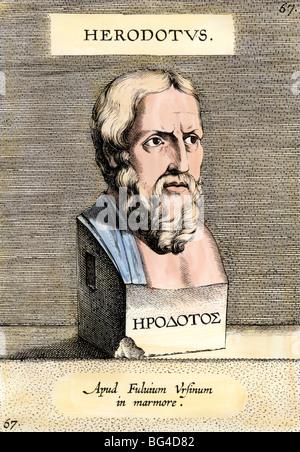 Greek historian Herodotus. Hand-colored engraving - Stock Photo