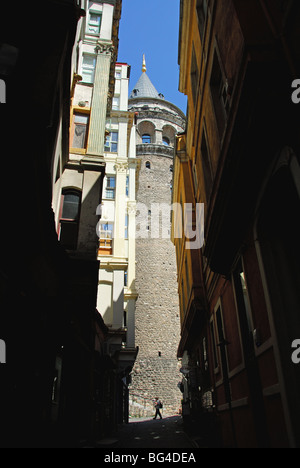 ISTANBUL, TURKEY. The Galata Tower in the Beyoglu district of the city. 2009. - Stock Photo