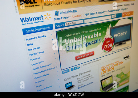 The Walmart website features their Cyber Monday sales - Stock Photo