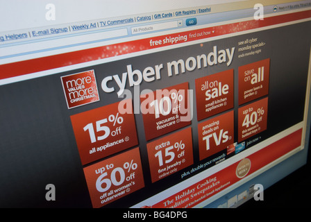 The Sears website features their Cyber Monday sales - Stock Photo