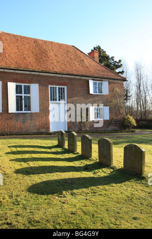 The Quaker Meeting House at Jordan's with the grave of William Penn the founder of Pennsylvania,America. - Stock Photo