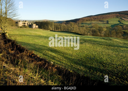 Barden Tower, in Wharfedale, North Yorkshire, a ruined 15th Century hunting lodge on the Bolton Abbey estate. - Stock Photo