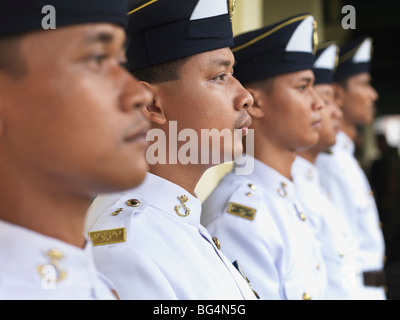 A row of Military officers dressed in their formal uniforms. - Stock Photo