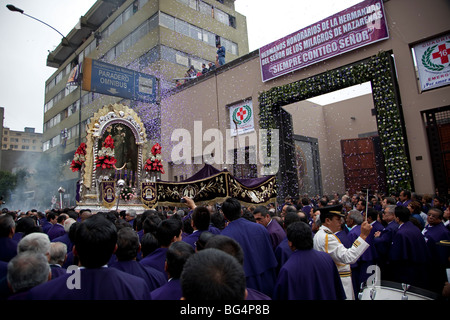 The Senor de Milagros, or Lord of Miracles Procession, in Lima, Peru. The festival celebrates a revered image of - Stock Photo