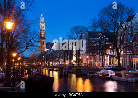 Westertoren Wester Toren Amsterdam. The tower of the Westerkerk, West Church on the Prinsengracht, Prinsen Gracht - Stock Photo