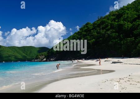 ST JOHN, US Virgin Islands - The idyllic beach of Cinnamon Bay on St. John in the US Virgin Islands - Stock Photo