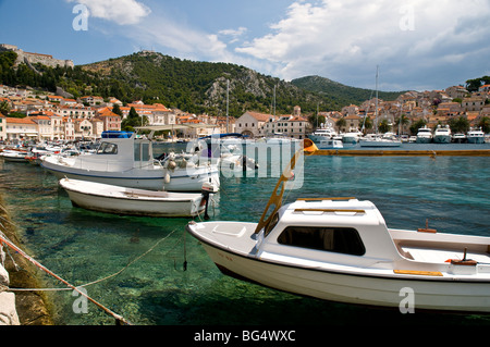 Boats tied up in the harbour, Brac, Bol  Croatia - Stock Photo