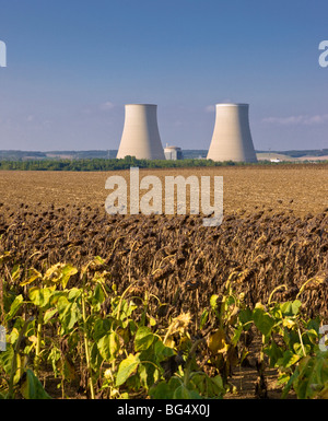 The cooling towers of the nuclear power plant at Nogent-sur-Seine, a town near Paris, France - Stock Photo