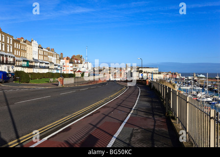 Houses on the western seafront overlooking Ramsgate Town & Royal Harbour, Kent, UK - Stock Photo