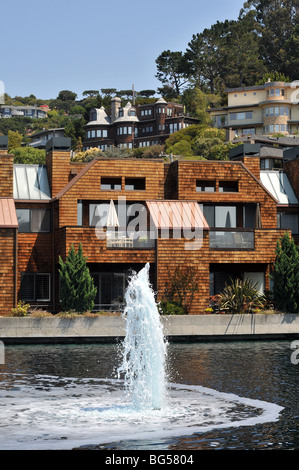 Contemporary housing development alongside a lagoon, close to the waterfront in Tiburon, on the north side of San - Stock Photo