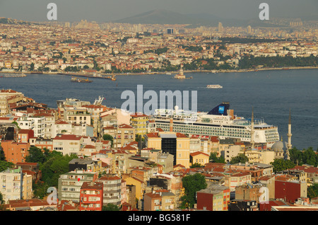 ISTANBUL, TURKEY. A view across the Bosphorus, from the European shore to Uskudar on the Asian shore of the city. - Stock Photo