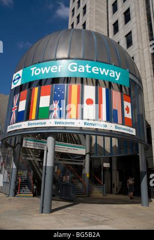 Tower Gateway Station on Docklands Light Railway, London UK - Stock Photo