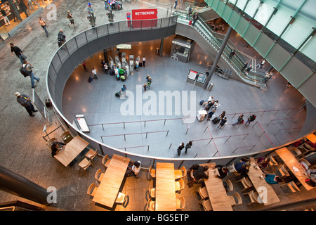 Hall of Zurich Airport, Switzerland, showing Check in, food concourse and shopping area - Stock Photo