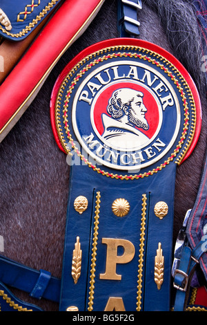 Brewery emblem detail on a parade horse at the Oktoberfest, Munich Germany - Stock Photo