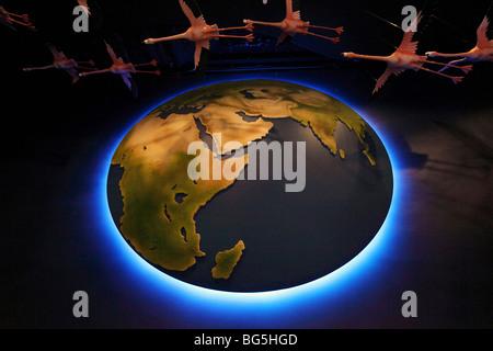 Illuminated globe, Dubai, United Arab Emirates - Stock Photo
