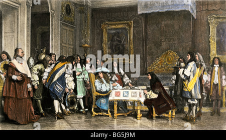 Moliere at breakfast with Louis XIV at Versailles Palace. Hand-colored photogravure of an illustration - Stock Photo