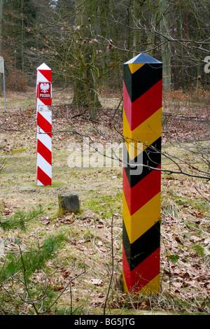 Grenze, Grenzstreifen Polen - Deutschland bei Swinemünde, Ahlbeck, Insel Usedom, Mecklenburg-Vorpommern, Deutschland - Stock Photo