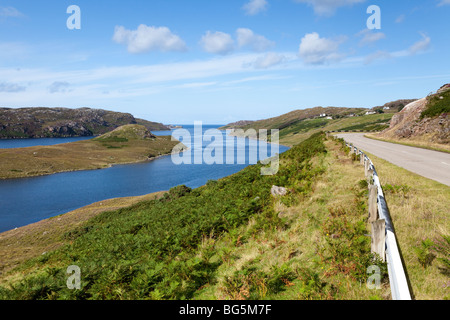 Looking west along Loch Inchard towards Kinlochbervie, Highland, Scotland - Stock Photo