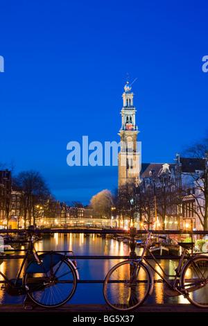 Westertoren Wester Toren Amsterdam. The tower of the Westerkerk, West Church on the Prinsengracht, Prinsen Gracht - Stock Photo