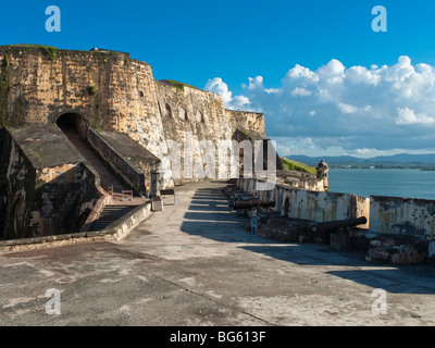 Interior View of the El Morro Fort with Cannons, San Juan National Historic Site, Puerto Rico - Stock Photo