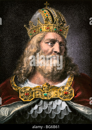 Idealized portrait of Charlemagne. Hand-colored halftone of an illustration - Stock Photo