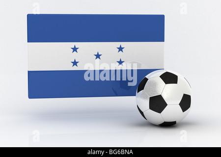 Flag of Honduras with soccer ball - Stock Photo