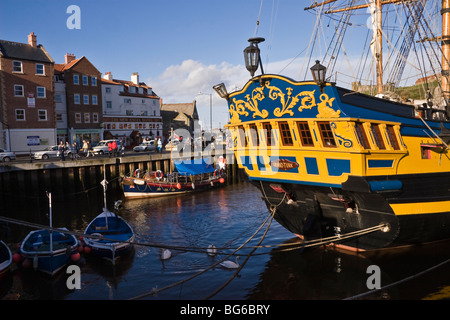 Grand Turk replica sailing ship, Whitby Harbour, North Yorkshire, England - Stock Photo