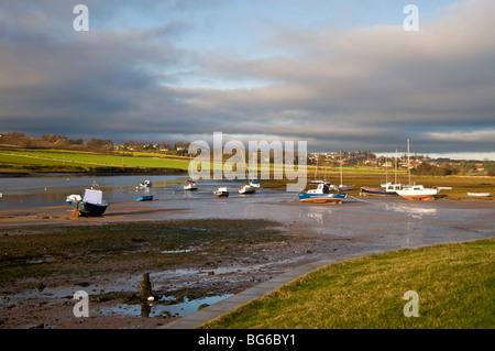 Moored Boats Alnmouth River Aln Esturay Northumberland England  SCO 5591 - Stock Photo